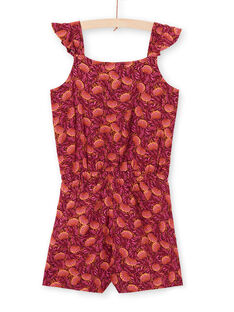 Tuta bordeaux e arancione con stampa foglie bambina LATERCOMBI / 21S901V1CBL719
