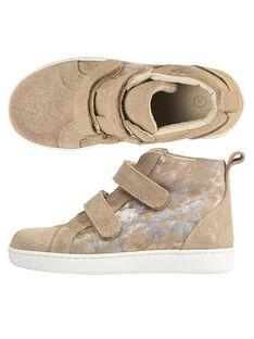 Sneakers alte crosta di pelle beige e pelle fantasia bambina GFBASBEIG / 19WK35I8D3F080