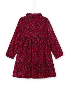Abito blu collo stile camicia con stampa a fiori bambina MAFUNROB3 / 21W901M2ROBH703