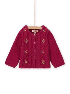 Cardigan in maglia rosa scura ricamato neonata MITUCAR1 / 21WG09K1CARD312