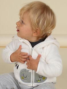 Cardigan con cappuccio ecrù motivo mostro in soft boa neonato MUHIGIL / 21WG10U1GIL001