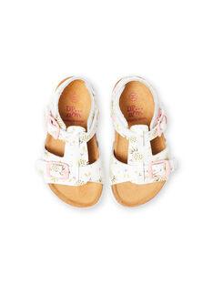 Sandali bianchi con fibbia e stampa ananas neonata LBFNUANAS / 21KK3751D0E000