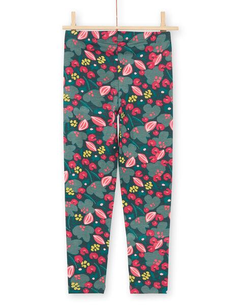 Leggings verdi e rosa stampa a fiori bambina MYAKALEG2 / 21WI01I2CALG604