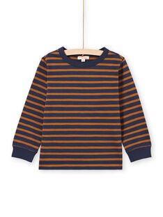 T-shirt maniche lunghe a righe marroni e navy bambino MOJOTIRIB4 / 21W9022BTML812