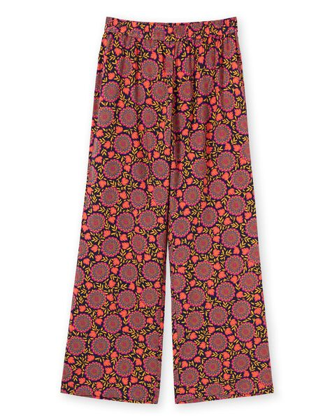 Pantaloni taglio morbido navy e giallo con stampa a fiori donna LAMUMPANT / 21S993Z1PANC211