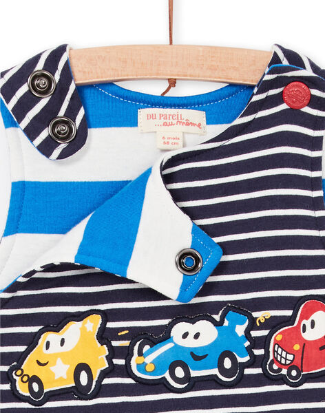 Salopette blu notte a righe neonato LUHASAL1 / 21SG10X2SAL713