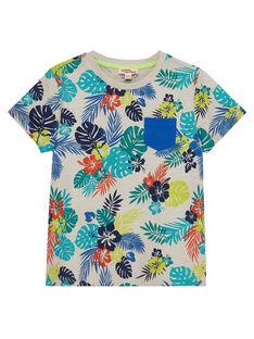 T-shirt bambino maniche corte con stampa tropicale JOMARTI6 / 20S902P1TMCI811