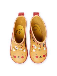 Stivali da pioggia arancioni con stampa a fiori neonata MIPLUICHAT / 21XK3711D0C400