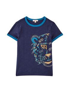 T-shirt navy bambino con ricamo motivo testa di tigre JOJATI2 / 20S902B2TMC705