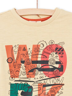 T-shirt maniche lunghe beige ed ecrù con motivi fantasia bambino MOCOTEE1 / 21W902L1TMLA006