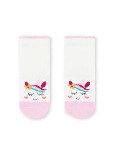 Calze ecrù e rosa con motivi unicorni neonata MYITUSOQ / 21WI09K1SOQ001
