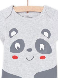 Body a maniche corte grigio melange con motivo panda neonato MEGABODPAN / 21WH14B1BDLJ920