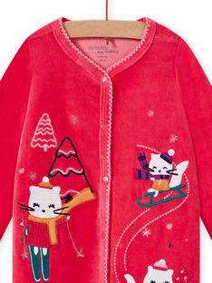 Tutina rosa in velluto con motivi gattini in montagna neonata MEFIGRESKI / 21WH1393GRE308