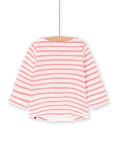 T-shirt bianca e rosa a righe neonata LIHATEE / 21SG09X1TMLD305