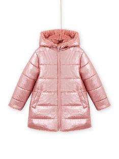 Parka con cappuccio double face rosa in finta pelliccia bambina MACOMPARKA / 21W90164PAR303