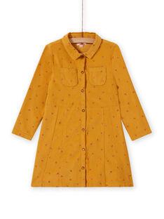 Abito giallo in velluto con motivo fantasia bambina MASAUROB3 / 21W901P1ROBB107