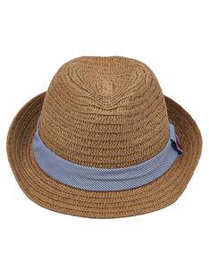 Cappello bambino di paglia con fascia a righe blu e bianca + ricamo sulla fascia JYOWECHAP1 / 20SI0292CHA009