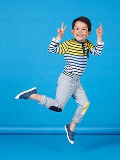 T-shirt gialla e blu a righe bambino LONAUTEE1 / 21S902P2TML000