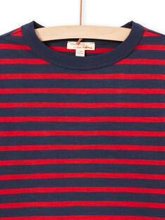 T-shirt maniche lunghe a righe rosse e navy bambino MOJOTIRIB2 / 21W90224TML505
