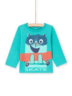 T-shirt maniche lunghe turchese con motivo gatto su uno skate bambino MUTUTEE1 / 21WG10K2TMLC217