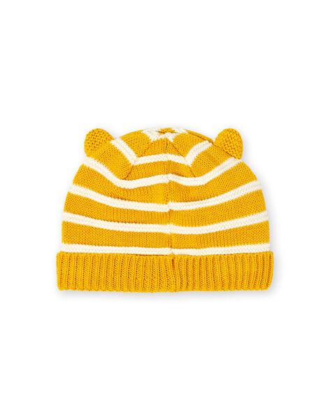 Berretto giallo e bianco a righe in maglia sottile neonato LYUNOBON / 21SI10L1BON106