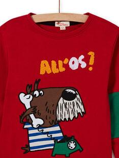 T-shirt rossa con motivo cane fantasia bambino MOMIXTEE4 / 21W902J2TML505