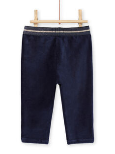 Pantaloni navy velluto dettagli dorati neonata MIMIXPAN / 21WG09J1PAN070