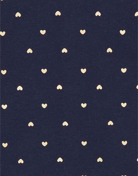 Cardigan navy e dorato con stampa cuori neonata LIJOCAR3 / 21SG0942CAR070