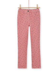 Pantaloni in velluto a costine rosa a pois bambina MAJOVEJEG3 / 21W901N3PANH700