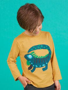 T-shirt a maniche lunghe gialla con motivo iguana bambino MOTUTEE2 / 21W902K3TMLB101