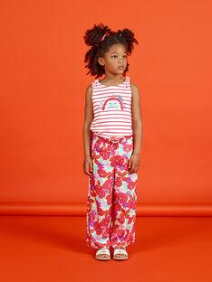 Pantaloni taglio morbido arancioni e verdi stampa a fiori LAVIPANT / 21S901U1PAN000