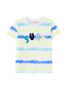 T-shirt bambino bianca con stampa a righe effetto consumato JOQUATI3 / 20S902R1TMC000