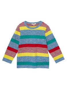 T-shirt maniche lunghe bambino a righe multicolore JOGRATEE1 / 20S902E2TMLC228