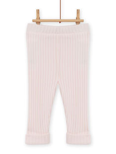 Leggings tinta unita rosa chiaro a costine neonata MYIJOLEGCO2 / 21WI0913CAL632