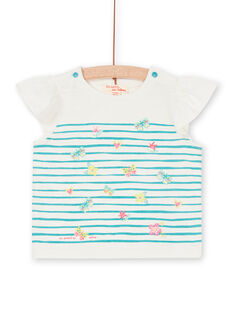 T-shirt bianca e blu a righe neonata LIVERTI2 / 21SG09Q1TMC001