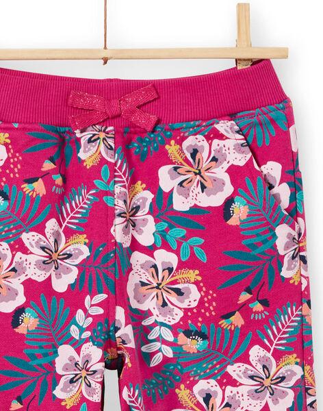 Pantaloni sportivi rosa scuri e blu stampa a fiori bambina MAJOBAJOG1EX / 21W90115JGBD312