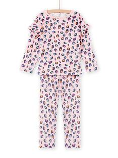 Completo pigiama in velluto rosa con stampa pantera bambina MEFAPYJBOX / 21WH1197PYJ309
