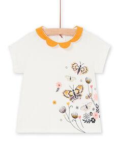 T-shirt ecrù e gialla neonata LIPOEBRAEX / 21SG09Y2BRA001