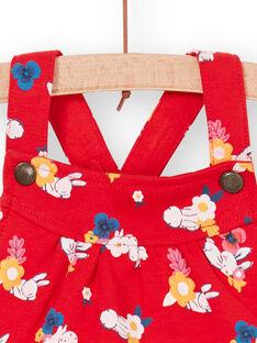 Salopette rossa e bianca con stampa a fiori neonata LIHACOMB / 21SG09X2CBL505