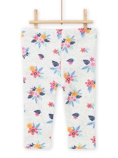 Pantaloni sportivi grigio melange con stampa a fiori neonata MIPLABAJOG / 21WG09O1JGBJ920