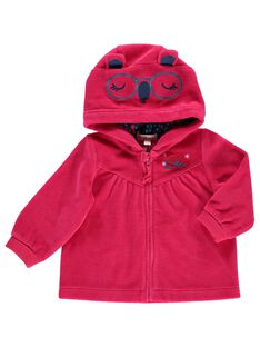 Baby girls' velour zipped sweatshirt DITRIHOJOG / 18WG09D1JGH308
