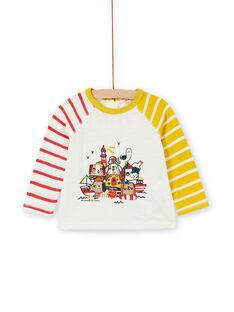 T-shirt ecrù e gialla in cotone neonato LUNOTEE3 / 21SG10L1TML001