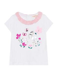 T-shirt maniche corte e collo a volant neonata JIPOEBRA / 20SG09G1BRA000