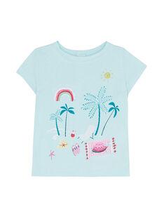 T-shirt maniche corte blu ghiaccio neonata JIQUATI / 20SG09R1TMC219