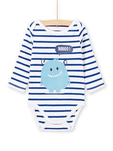 Body bianco maniche lunghe a righe motivo mostro neonato MEGABODMON / 21WH14B3BDL000