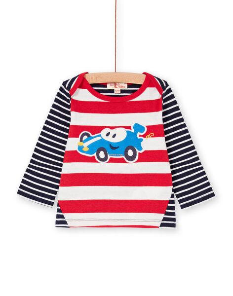 T-shirt rossa e bianca a righe neonato LUHATEE2 / 21SG10X1TMLF517