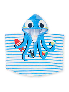 Mantellina da bagno con cappuccio blu e bianco a righe neonato LYUCAPE / 21SI10D1CDB001