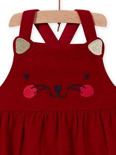 Abito a palloncino rosso in velluto con motivo gatto neonata MIMIXROB2 / 21WG09J3ROB511