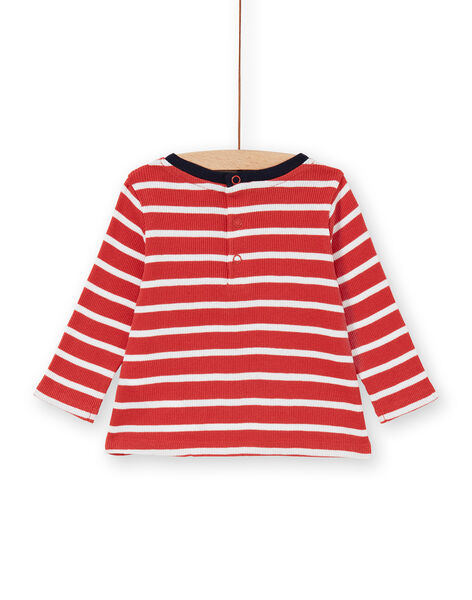 T-shirt rossa e bianca a righe in cotone neonato LUJOTEE5 / 21SG1031TML410