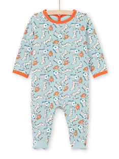 Tutina verde acqua e arancione stampa cane neonato MEGAGREAOP / 21WH1434GRE219